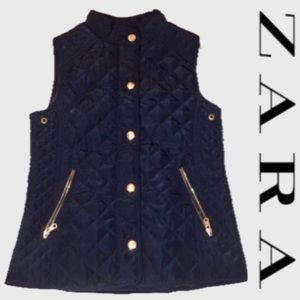 Zara Girls Navy Blue Quilted Vest